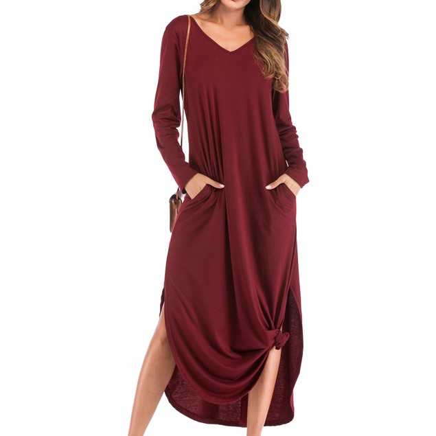 Long Sleeve Back Strap Maxi Slit Dress