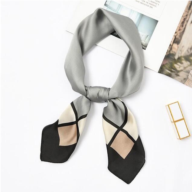 Square Silk Scarf/ Neckerchief/ Bandana - [Square Grey]