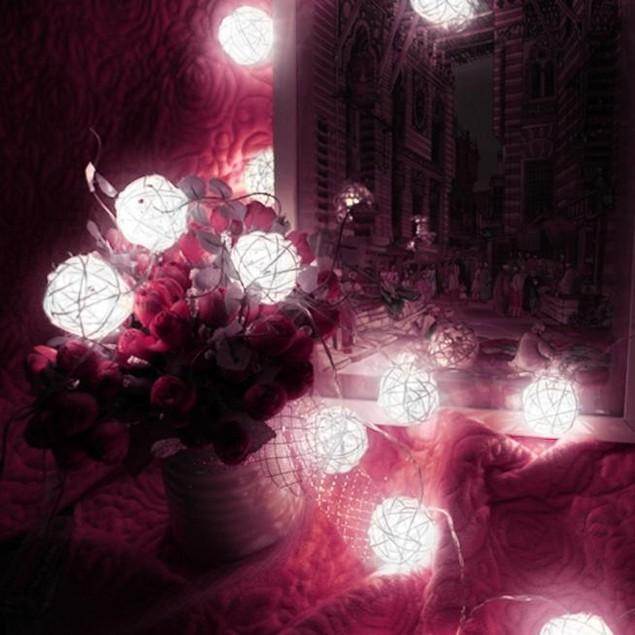 20 LED Color Rattan Ball String Fairy Lights