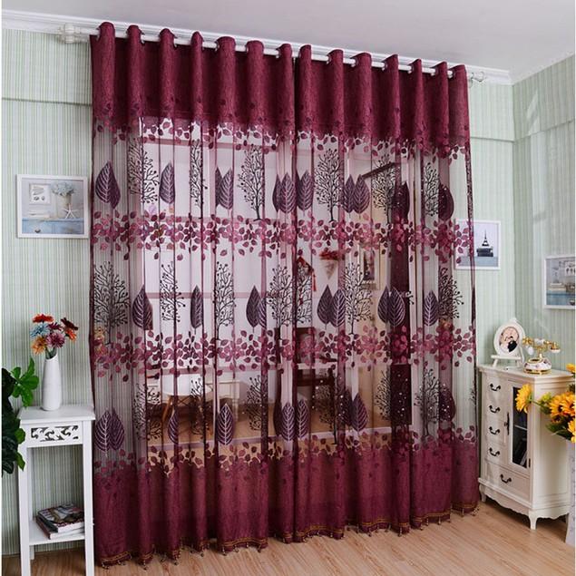 Leaf Hollow Window Screens Door Balcony Curtain Panel Sheer Cover
