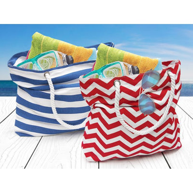 2-Pack Beach Tote Bag with Large Inner Zipper Pocket and Rope Handles