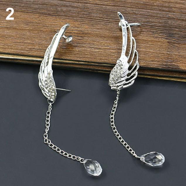 Elegant Hollow Angel Wing Teardrop Dangle Earrings