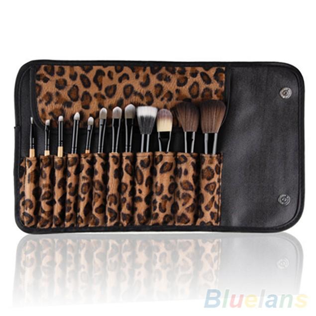 12 Piece Pro Makeup Brush Set w/ Leopard Bag