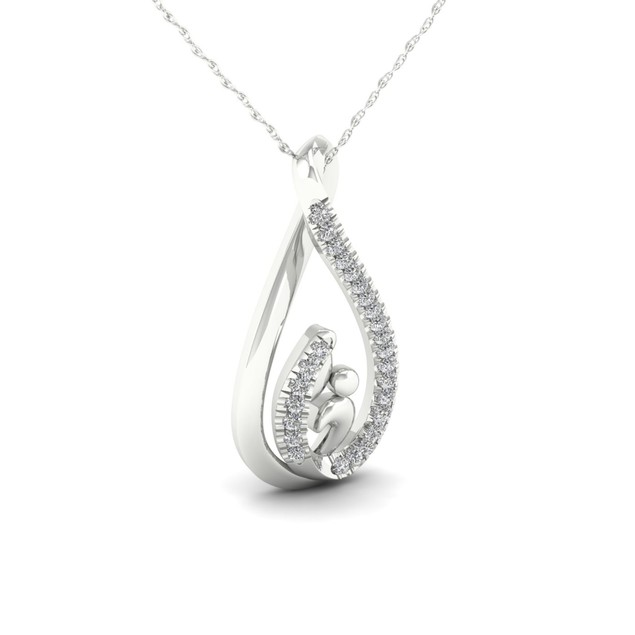 De Couer 10K 1/20ct TDW Diamond Motherly Love Necklace (I-J, I2)