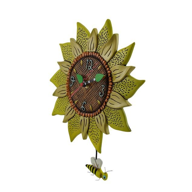 Allen Designs Bee Sunny Sunflower Wall Clock With Wall Clocks