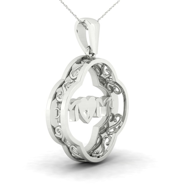 De Couer 10K Gold 1/5ct TDW Diamond Mom Heart Necklace (H-I, I2)