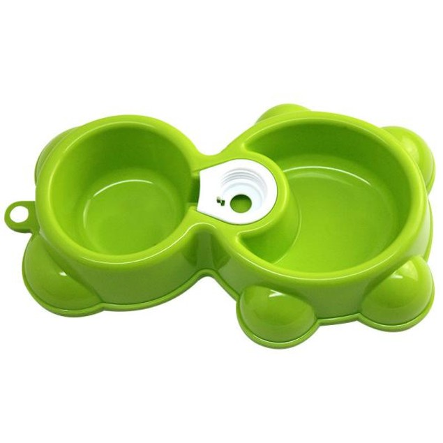 Water Food Feeder Fountain Bear Double Bowl Dog Cat Bowl