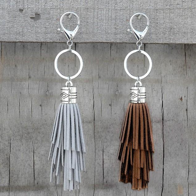 Velvet Handmade Layered Long Tassels Car Key Ring Bag Pendant Keychain