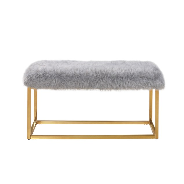 Chic Home Sophia Faux Fur Brass Finished Bench Ottoman