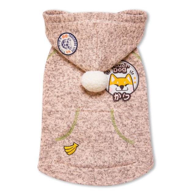 Touchdog Hippie Embellished Designer Sleeveless Pet Dog Hooded Sweater