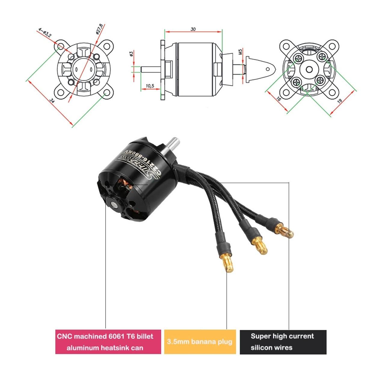 Original Surpass High Performance 2216 880kv 14 Poles Brushless Motor Wiring Diagram For