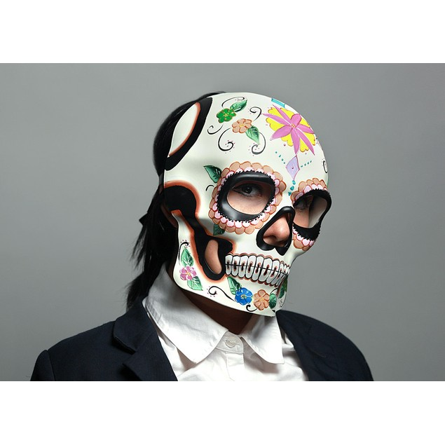 Colorful Floral Design Day Of The Dead Sugar Skull Womens Costume Masks