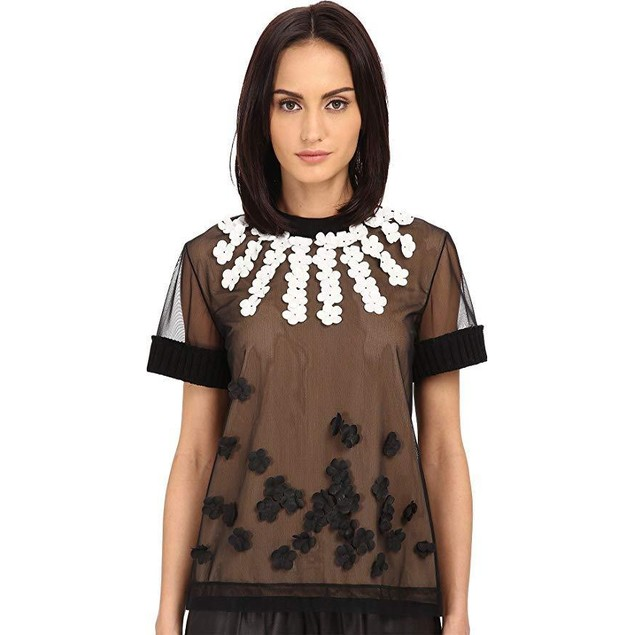 Vera Wang Women's T-Shirt w/Heavy Ribbed Knit Trims Black 2