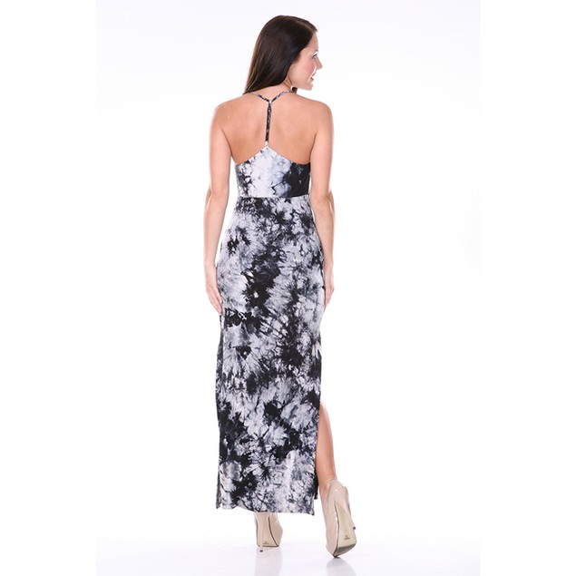 Women's T-Strap Tie Dye Maxi Dress