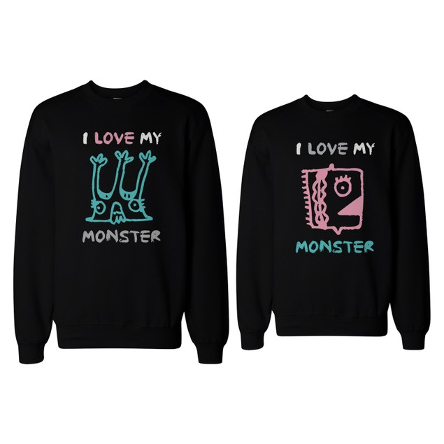 I Love My Monster Couple Sweatshirts Funny Matching Outfit for Couples
