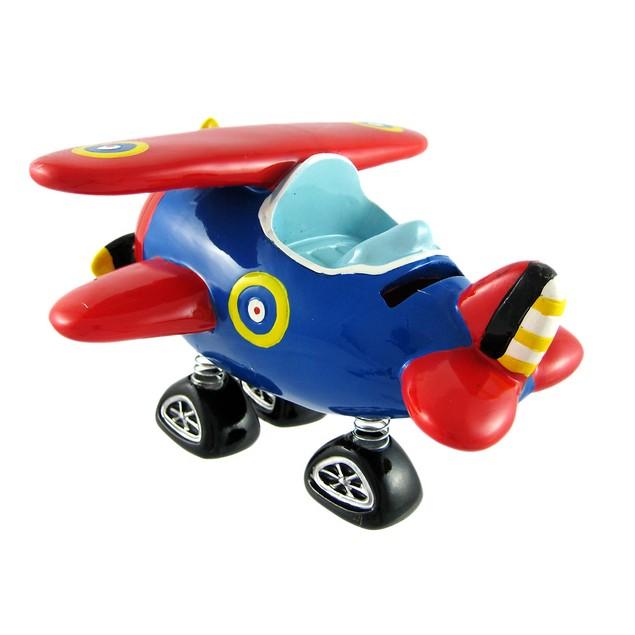 Red & Blue Bi-Plane Bobble Piggy Bank Biplane Toy Banks
