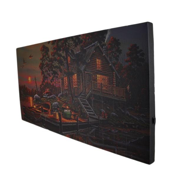 Led Lighted Morning Lake House Canvas Wall Art Prints
