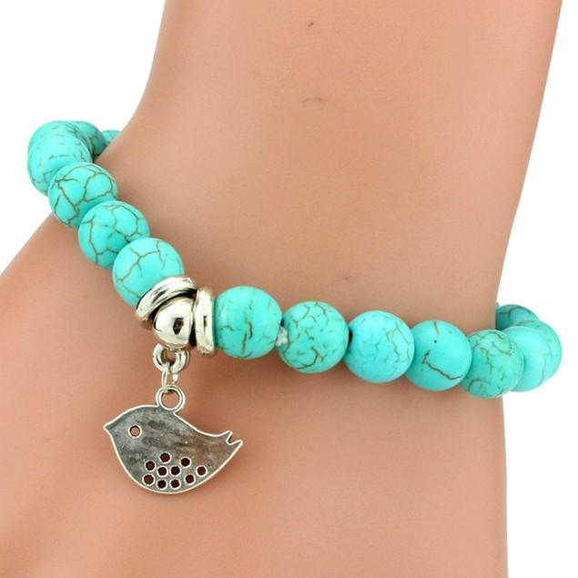 Dove Charm Turquoise Stone Bracelet