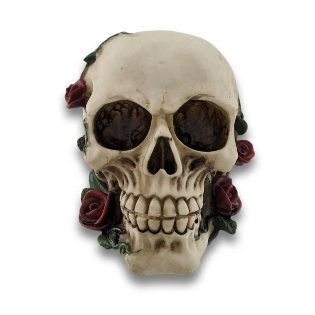 Morbidly Elegant Human Skull With Rose Vines Head Sculptures