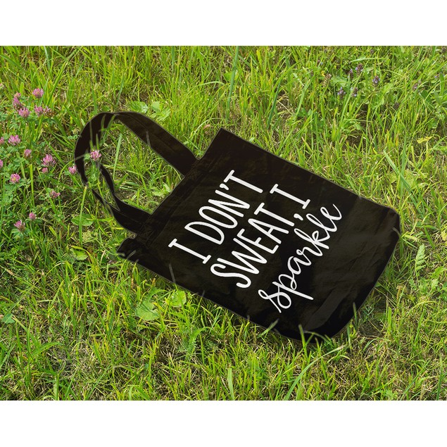 I Don't Sweat I Sparkle Black Tote Bag