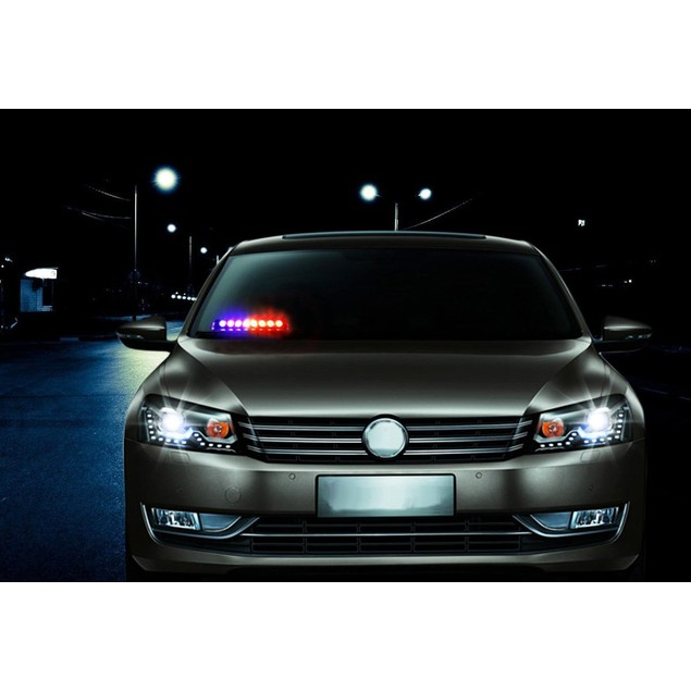 Zone Tech 8-LED Emergency Car Dash Warning Strobe Flash Light Red/White