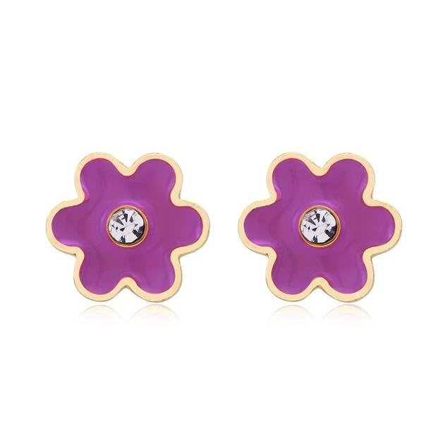 Flower Enamel Stud Earrings - 3 Colors