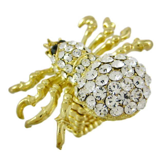 Rhinestone Encrusted Gold Tone Spider Stretch Ring Womens Rings