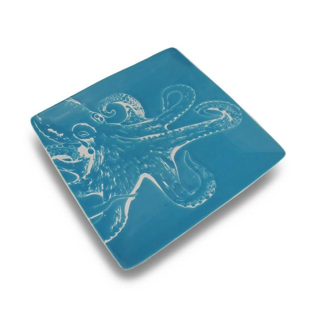 Ocean Blue Octopus Ceramic 10.5 In. Square Dinner Dinner Plates