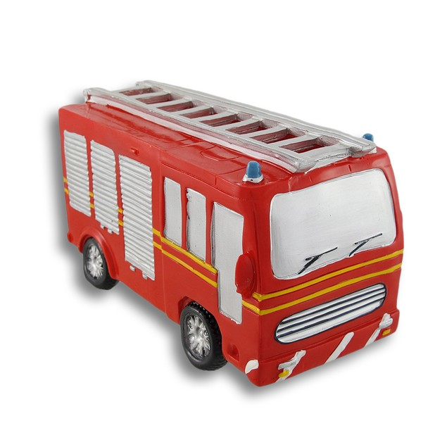 Bright Red Fire Truck Coin Bank Toy Banks
