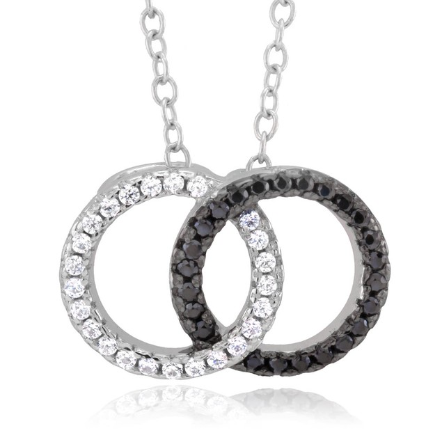 Sterling Silver Interlocking Circle Cubic Zirocnia Necklace