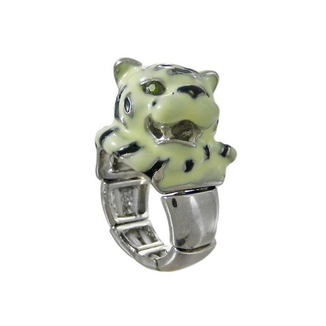 Silvertone Enamel Siberian Tiger Head Stretch Ring Womens Rings