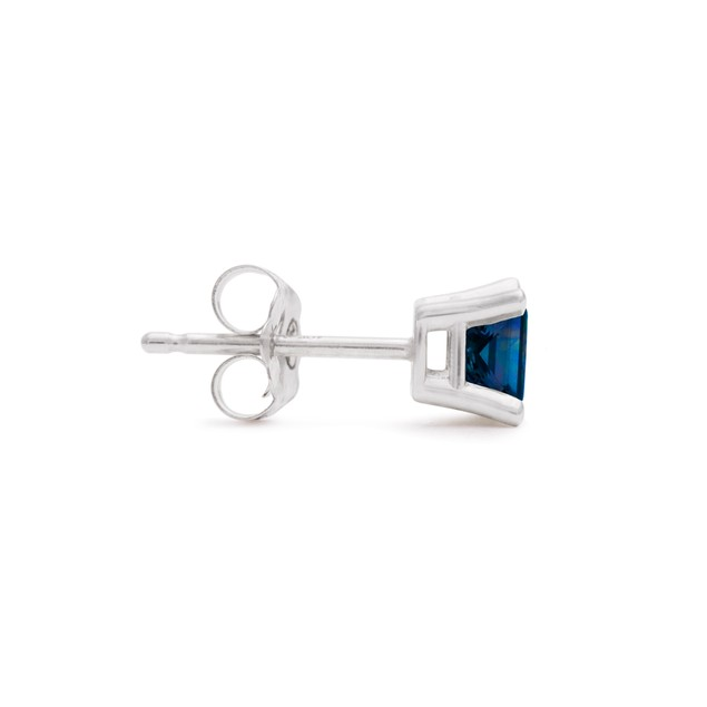 White Gold 1/2ct  Blue Diamond Princess Stud Earrings