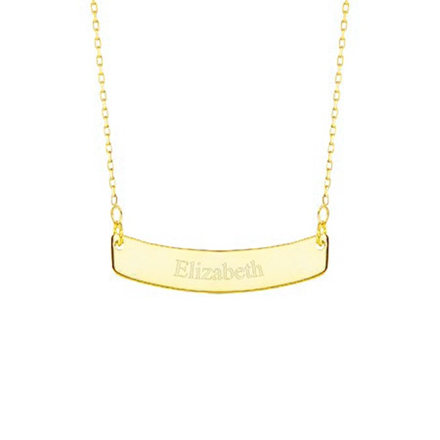 Personalized Curved Bar Necklace
