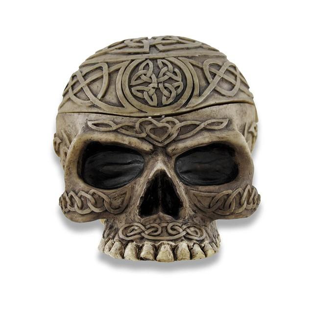Celtic Skull Trinket Box Ashtray Stash Decorative Boxes