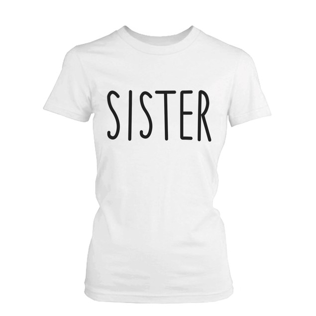 Cute Matching Graphic Shirts for Sisters Black and White Cotton T-shirts
