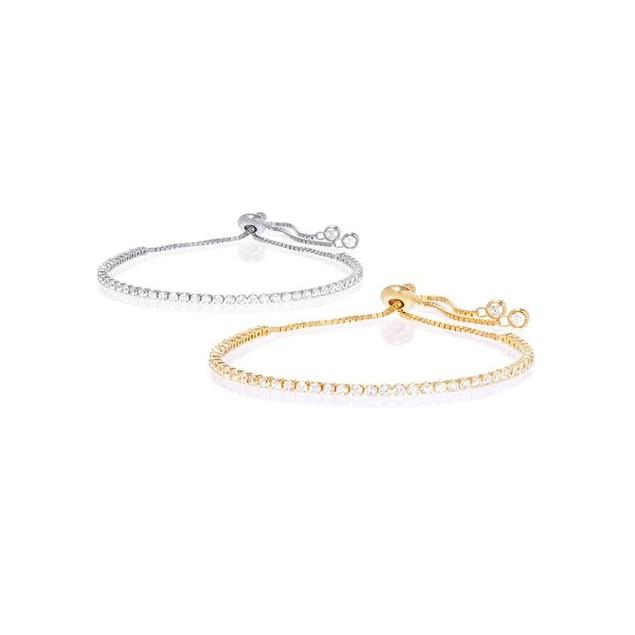 2 Pack CZ Adjustable Bracelet