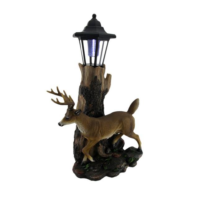 Whitetail Deer Sculptural Solar Light Statue Outdoor Figurine Lights
