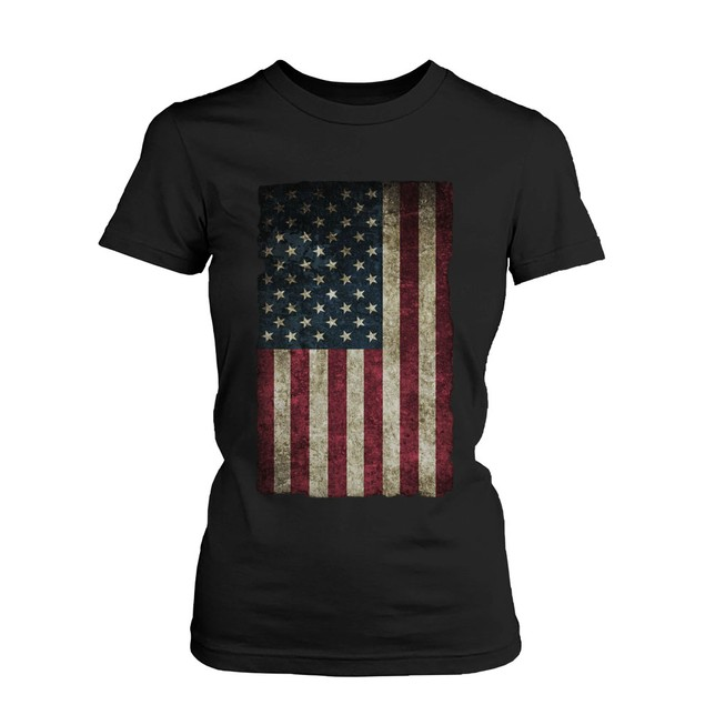 American Flag Women's T-shirt -July 4th Red White and Blue Graphic Tee