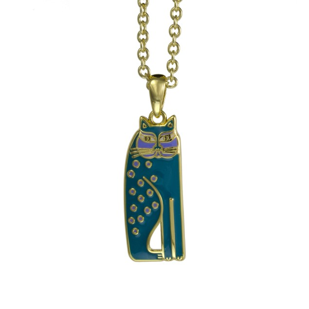 Laurel Burch Teal Siamese Cat Cloisonne Pendant W/ Womens Pendant Necklaces