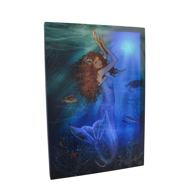 Led Lighted Magic Mermaid Canvas Wall Print Prints