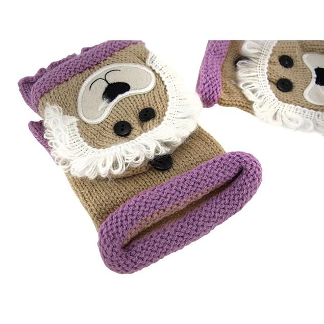 Knit Convertible Tan Lion Fingerless Gloves Womens Cold Weather Fingerless