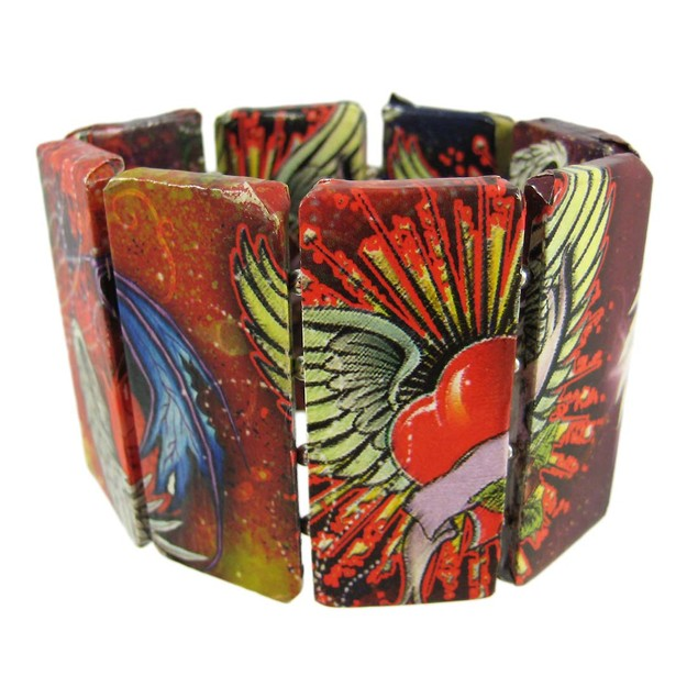 Paper Art Work Stretch Bracelet Tattoo Art With Womens Bangle Bracelets