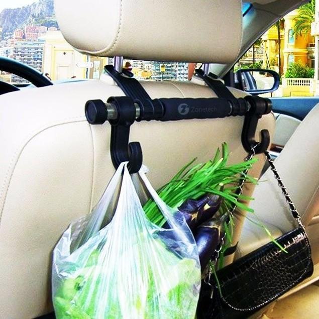 Zone Tech Black Multifunction Car Rod Back Seat Headrest Hook Hanger