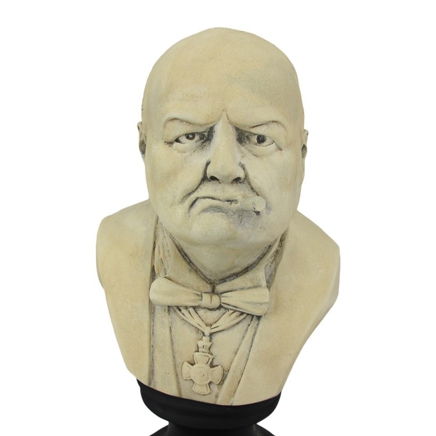 Ceramic Winston Churchill With Cigar Bust Bust Sculptures