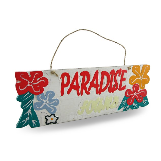 Weathered Finish Wooden `Paradise Found` Sign Outdoor Plaques
