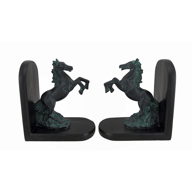 Set Of 2 Rearing Horse Bookends Black Finish Decorative Bookends