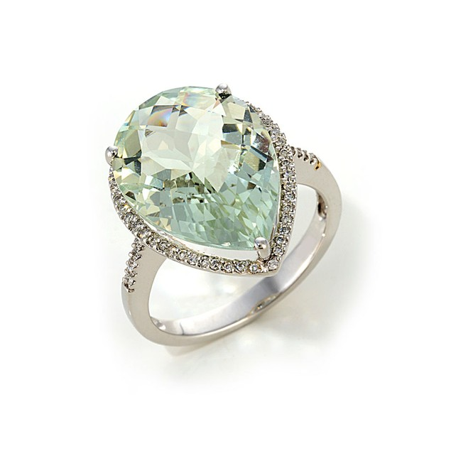 5.00 Carat Pear-Cut Green Amethyst Cocktail Ring