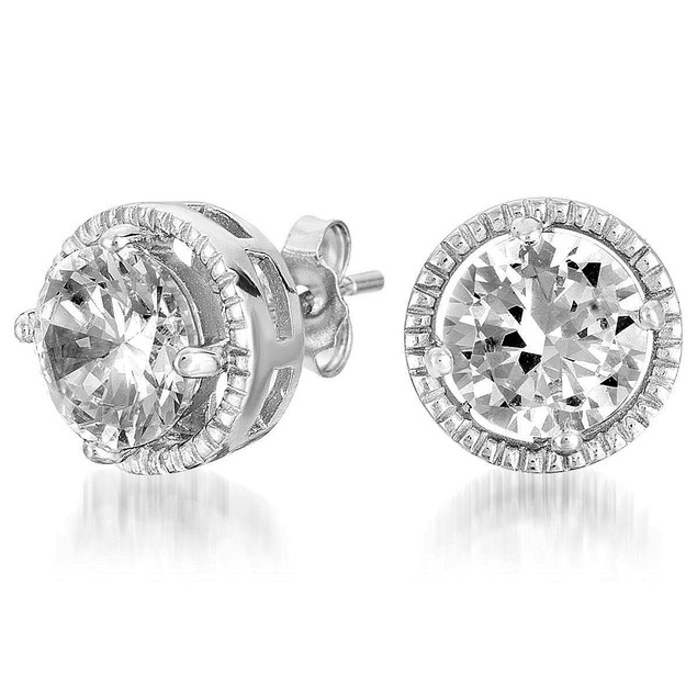 C.Z. Sterling Silver Rhodium Plated Round Button Earrings