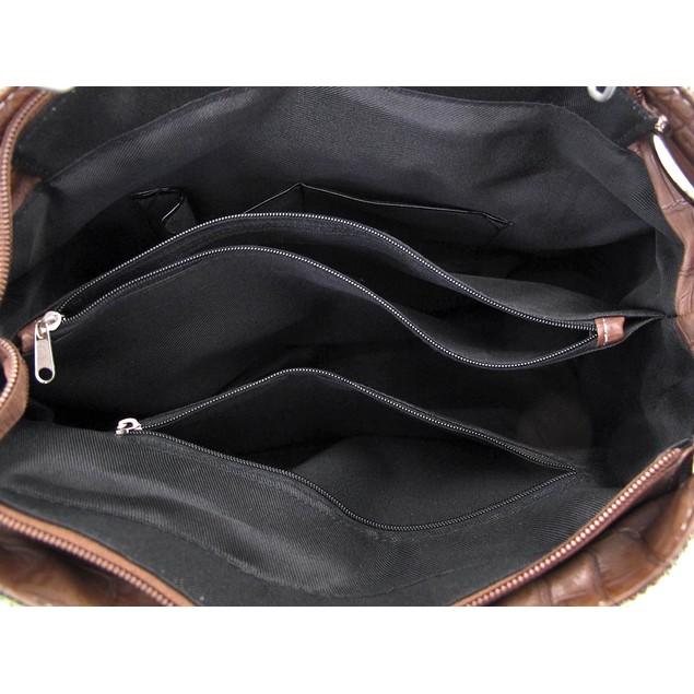 Green Lizard Skin Texture Purse With Brown Belt Womens Shoulder Handbags