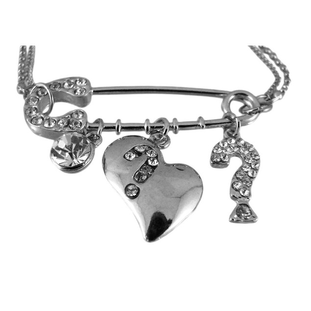 Double Strand Safety Pin Charm Necklace / Earrings Womens Earring And